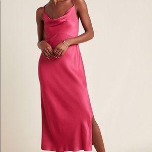Raspberry Bias Slip Dress from Anthropologie